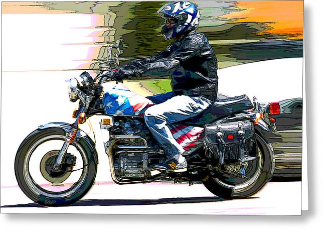 Motorcycles Pyrography Greeting Cards - Motion Greeting Card by Don Allen