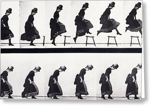 Victorian Greeting Cards - Motion Study Greeting Card by Eadweard Muybridge