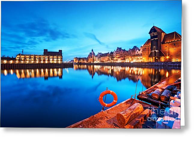 Polish Culture Greeting Cards - Motlawa river and famous crane Polish Zuraw Greeting Card by Michal Bednarek