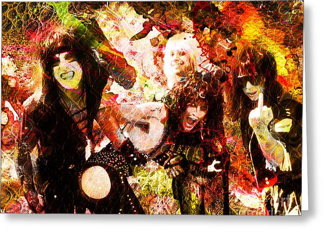Metal Art Greeting Cards - Motley Crue Original Painting Print Greeting Card by Ryan RockChromatic