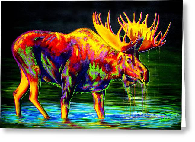 Colorful Animal Art Greeting Cards - Motley Moose Greeting Card by Teshia Art