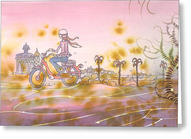 Surfer Art Greeting Cards - Moto Chic Greeting Card by Harry Holiday