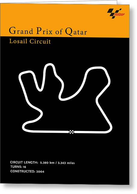 Yamaha Greeting Cards - Moto GP Qatar Greeting Card by Mark Rogan