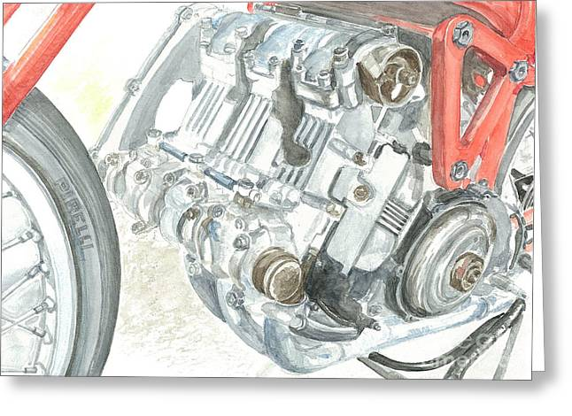 Technical Paintings Greeting Cards - Moto Guzzi 500 Tre Cilindri Greeting Card by Ingrid Wijnant