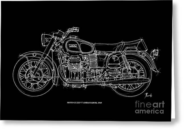 White On Black Greeting Cards - Moto Guzzi Ambassador 1969 Greeting Card by Pablo Franchi