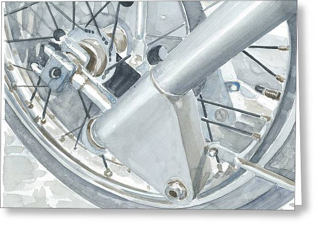 Technical Paintings Greeting Cards - Moto Guzzi Gambalunga 1 Greeting Card by Ingrid Wijnant