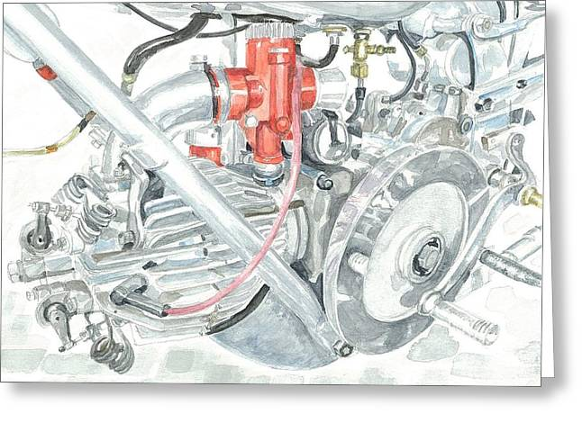 Technical Paintings Greeting Cards - Moto Guzzi Gambalunga 500 Greeting Card by Ingrid Wijnant