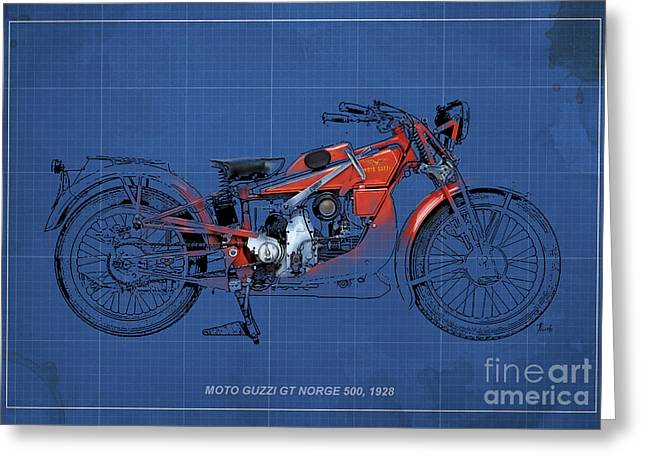 Moto Guzzi Gt Norge 500 1928 Greeting Card by Pablo Franchi