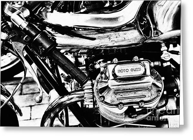 Monochrome Greeting Cards - Moto Guzzi Le Mans Detail Greeting Card by Tim Gainey