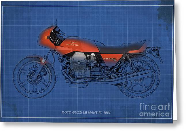 Moto Guzzi Le Mans III 1981 vintage style Greeting Card by Pablo Franchi