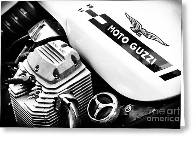 Chrome Greeting Cards - Moto Guzzi Le Mans Monochrome Greeting Card by Tim Gainey