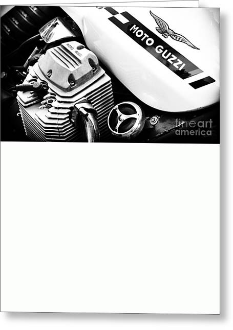 Monochrome Greeting Cards - Moto Guzzi Le Mans Monochrome Greeting Card by Tim Gainey