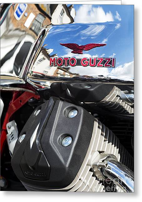 V Twin Greeting Cards - Moto Guzzi V7 Racer Abstract Greeting Card by Tim Gainey