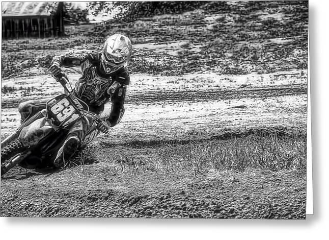 Ktm Greeting Cards - Motocross rider cornering Greeting Card by Tim Dahl