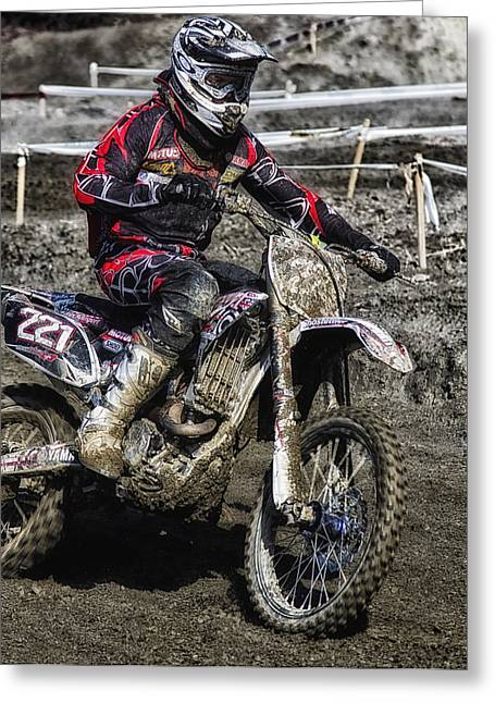 Outfit Greeting Cards - Motocross Rider Greeting Card by Mountain Dreams