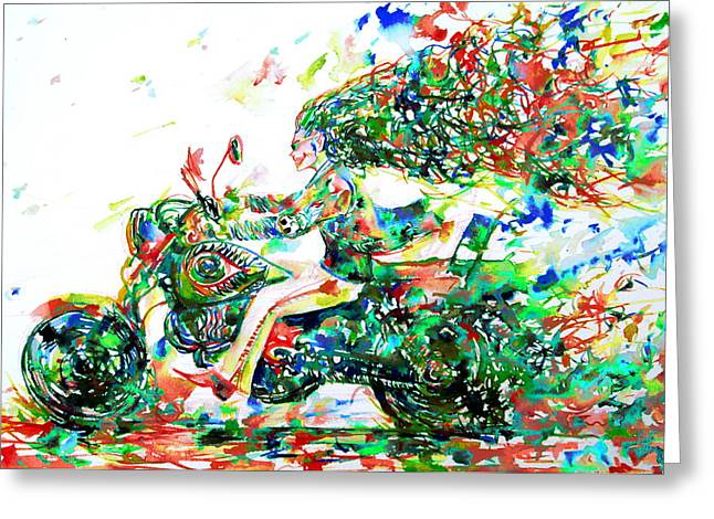 Runner Greeting Cards - Motor Demon Running Fast Greeting Card by Fabrizio Cassetta