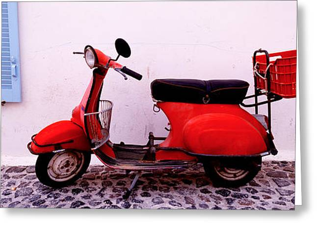 Motor Scooters Greeting Cards - Motor Scooter Parked In Front Greeting Card by Panoramic Images