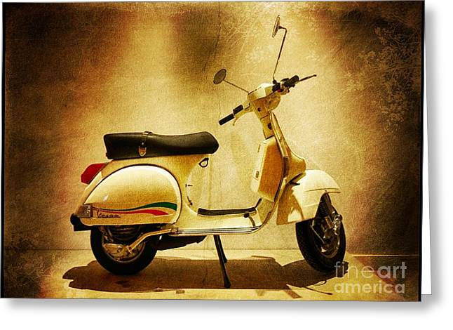 1980 Digital Greeting Cards - Motor Scooter Vespa Greeting Card by Stefano Senise