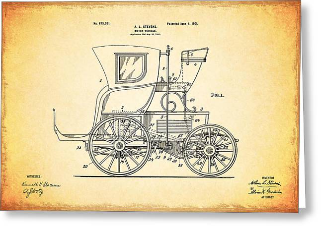 Vintage Car Poster Greeting Cards - Motor Vehicle Patent 1901 Greeting Card by Mark Rogan
