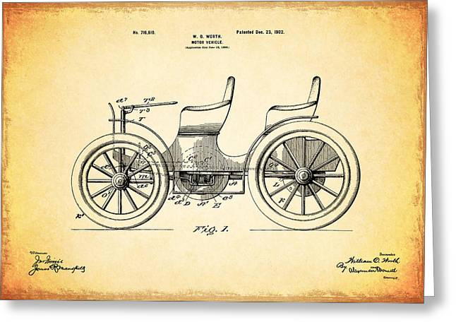 Vintage Car Poster Greeting Cards - Motor Vehicle Patent 1902 Greeting Card by Mark Rogan