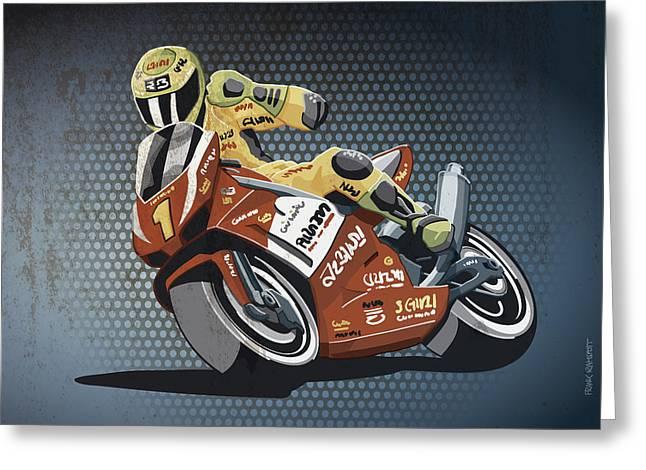 Frank Ramspott Greeting Cards - Motorbike Racing Grunge Color Greeting Card by Frank Ramspott