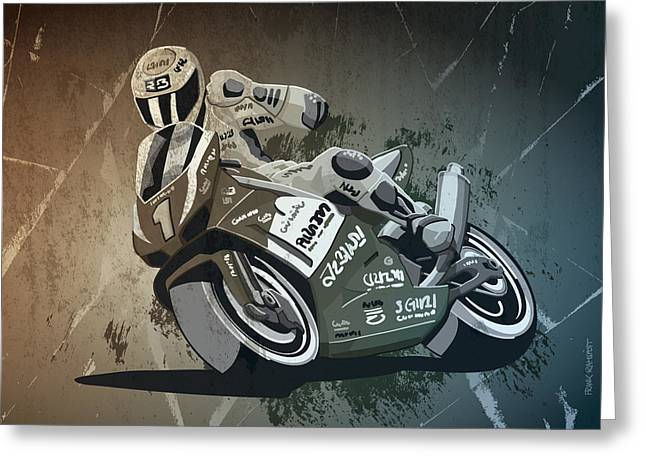 Motorbike Racing Grunge Monochrome Greeting Card by Frank Ramspott