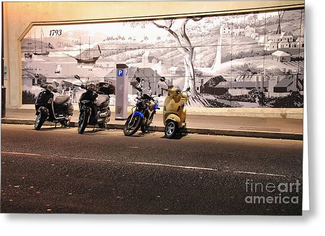 Kerb Greeting Cards - Motorbikes Waiting Greeting Card by Kaye Menner
