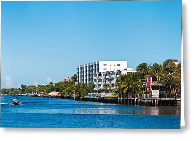 Boca Greeting Cards - Motorboats On Intracoastal Waterway Greeting Card by Panoramic Images