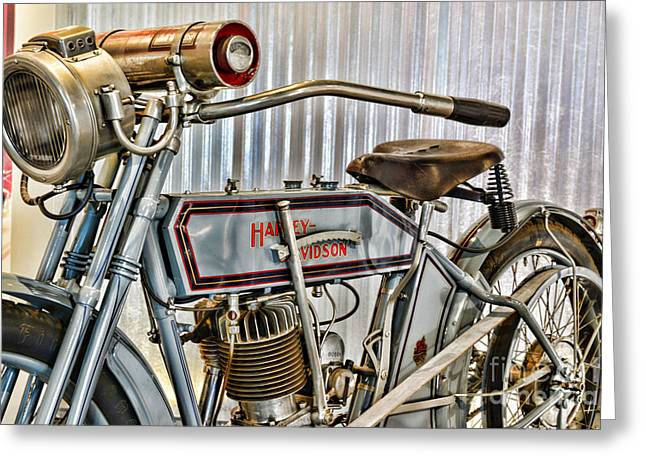Paul Ward Greeting Cards - Motorcycle - 1913 Harley Davidson 9A Greeting Card by Paul Ward