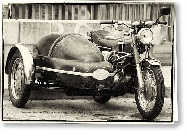 Motorcycle Sidecar Greeting Cards - Motorcycle and Sidecar??? Greeting Card by Claudette DeRossett