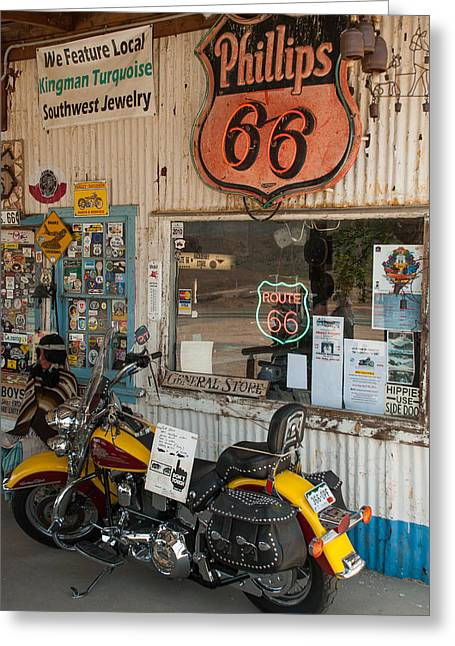 Geobob Greeting Cards - Motorcycle at Hackberry Springs Trading Post on Route 66 Arizona Greeting Card by Robert Ford
