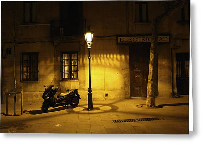 Motorcycle By Lamplight In Barcelona Greeting Card by Madeline Ellis