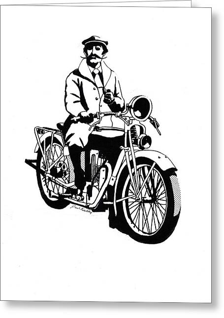 Outfit Drawings Greeting Cards - Motorcycle Gentleman Greeting Card by J W Kelly