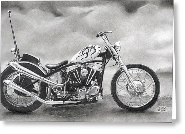 Motorcycles Pastels Greeting Cards - Motorcycle Greeting Card by Heather Gessell