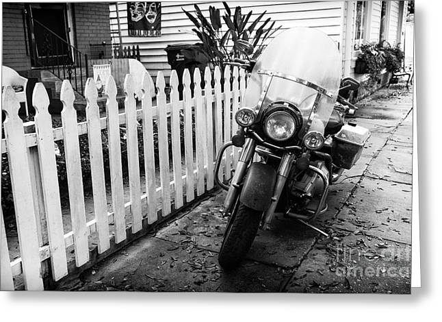 White Pickett Fences Greeting Cards - Motorcycle in the Garden District mono Greeting Card by John Rizzuto