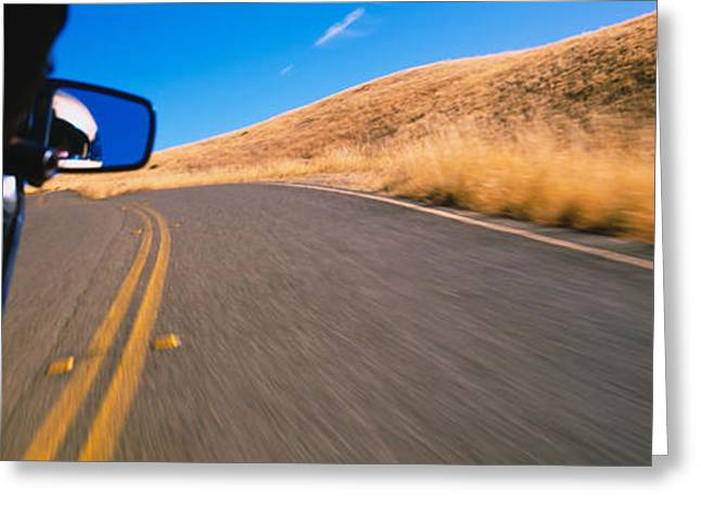 Yellow Line Photographs Greeting Cards - Motorcycle On A Road, California, Usa Greeting Card by Panoramic Images