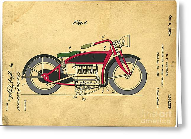 Invent Greeting Cards - Motorcycle Patent Greeting Card by Edward Fielding