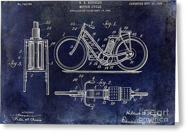 Honda Motorcycles Greeting Cards - 1903 Motorcycle Patent Blue Greeting Card by Jon Neidert
