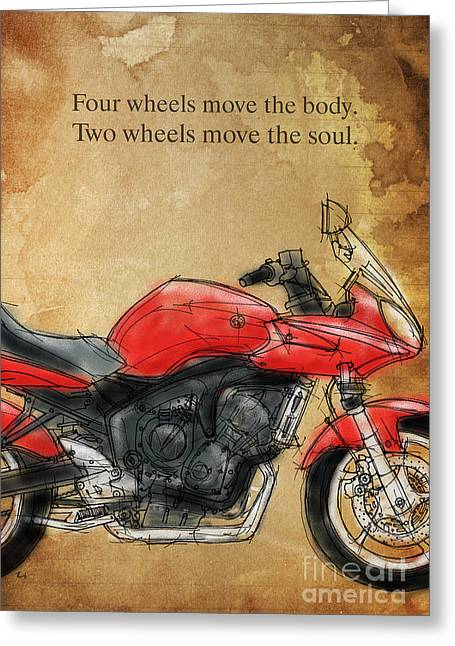 Handmade Drawings Greeting Cards - Motorcycle Quote Greeting Card by Pablo Franchi