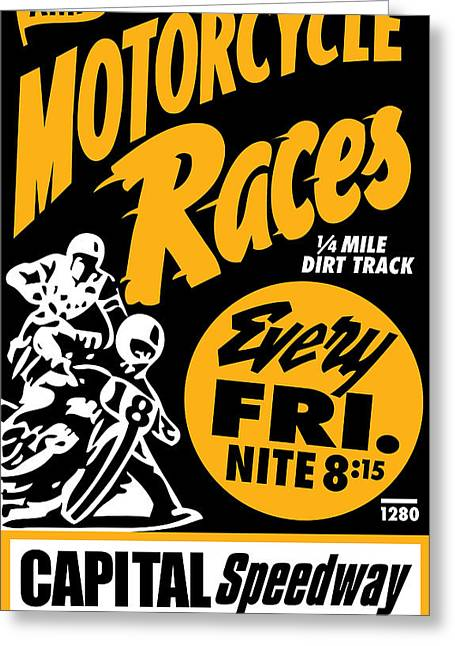 Vector Posters Greeting Cards - Motorcycle Races Greeting Card by Gary Grayson