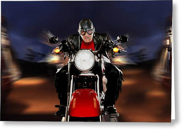 Hurry Greeting Cards - Motorcycle Rider Between Two Semi Trucks Greeting Card by Panoramic Images