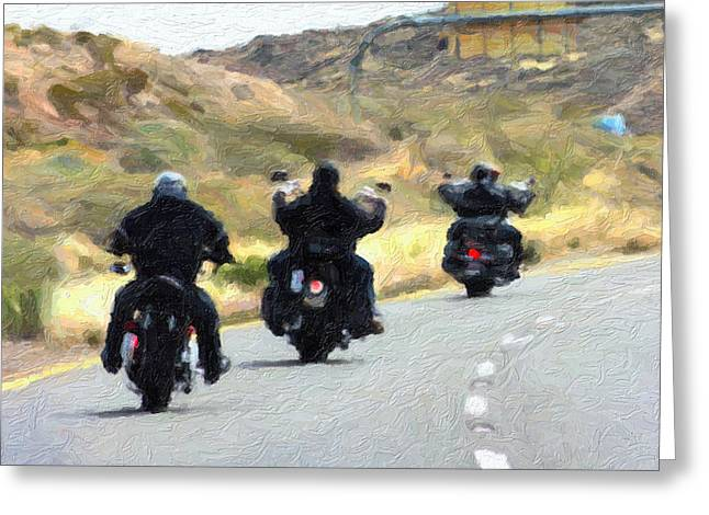 Bike Trip Greeting Cards - Motorcycle Road Trip  Greeting Card by Gravityx Designs