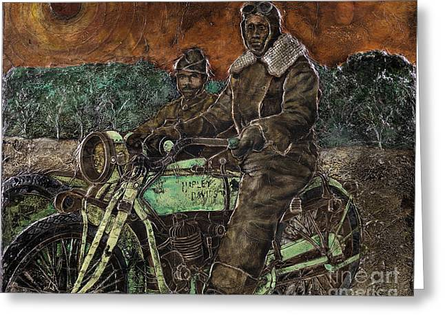 African American History Paintings Greeting Cards - Motorcycle Soldier Greeting Card by Anthony High