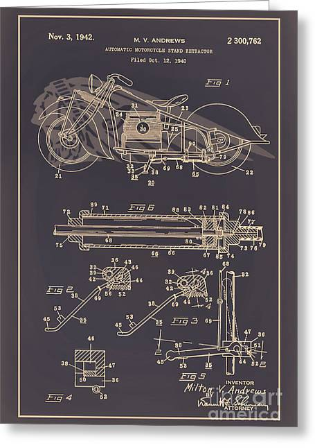 Drawing Of The Factory Digital Art Greeting Cards - Motorcycle Stand Brown Greeting Card by Brian Lambert