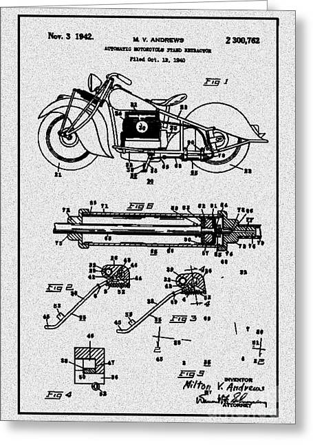 Recently Sold -  - Drawing Of The Factory Greeting Cards - Motorcycle Stand Gray Greeting Card by Brian Lambert