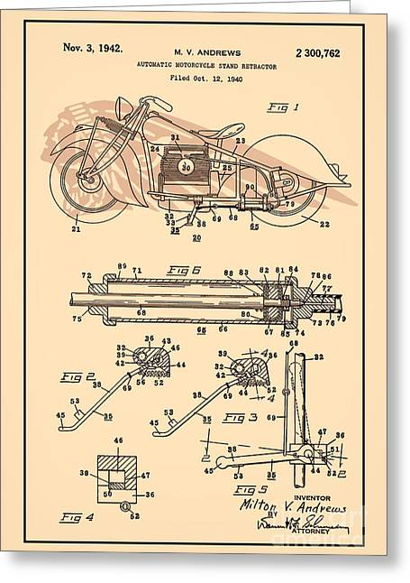 Drawing Of The Factory Greeting Cards - Motorcycle Stand red Greeting Card by Brian Lambert