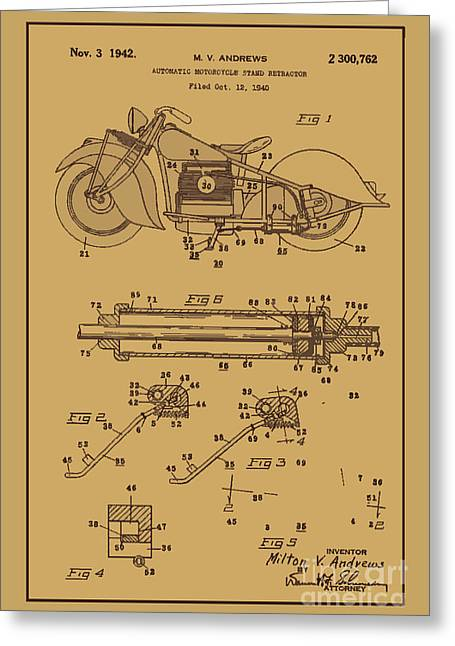 Drawing Of The Factory Photographs Greeting Cards - Motorcycle Stand Rust Greeting Card by Brian Lambert