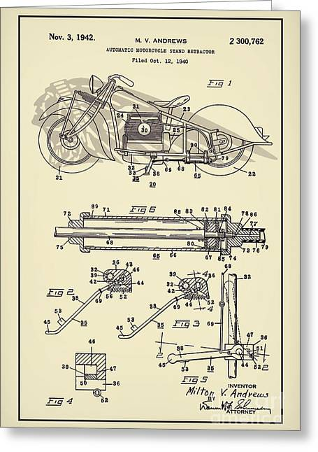 Drawing Of The Factory Greeting Cards - Motorcycle Stand Yellow Greeting Card by Brian Lambert