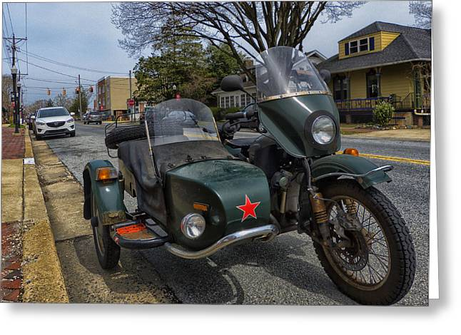 Motorcycle Sidecar Greeting Cards - Motorcycle with sidecar Greeting Card by Lois Johnson