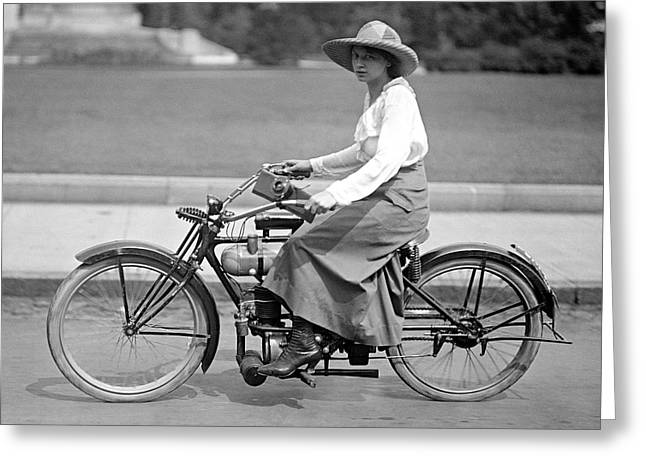 Motorcycle Woman C. 1917 Greeting Card by Daniel Hagerman